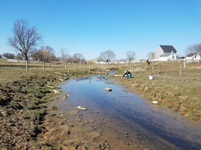 Jenna Mackley, Alliance for the Chesapeake Bay PA Program Coordinator, plants live stakes along a stream in Lancaster County.