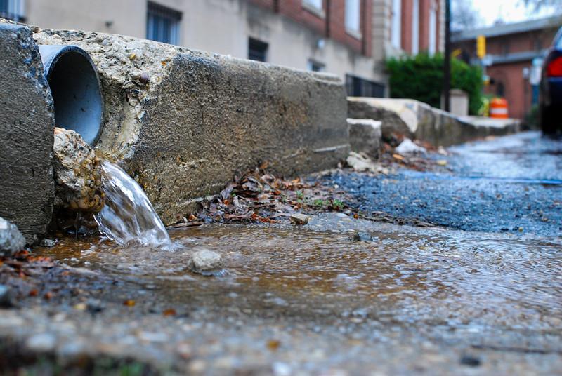 Stormwater runoff onto pavement