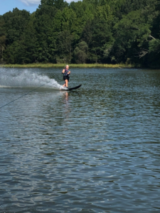 Camille water skiing on Mill Creek, September 2020